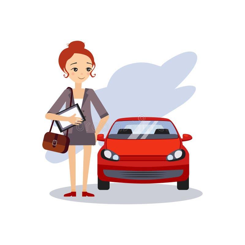 Se garer au travail Activités courantes quotidiennes des femmes Illustration de vecteur illustration stock