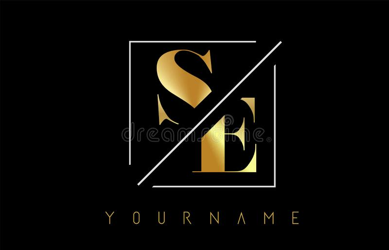 SE Golden Letter Logo with Cutted and Intersected Design. And Square Frame Vector Illustration stock illustration