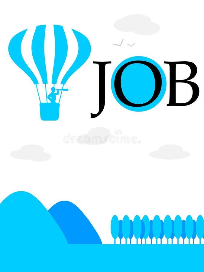 Se högt och avlägset för en nya Job Hot Air Balloon stock illustrationer