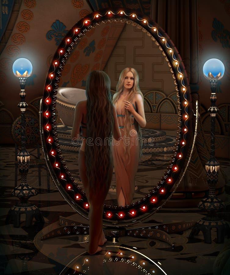 Se i spegeln, 3d CG royaltyfri illustrationer