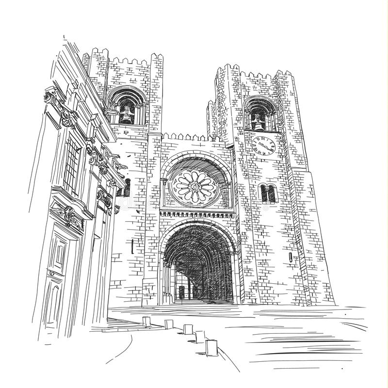 Se-Kathedraal in Lissabon - Vectorillustratie, handtekening vector illustratie