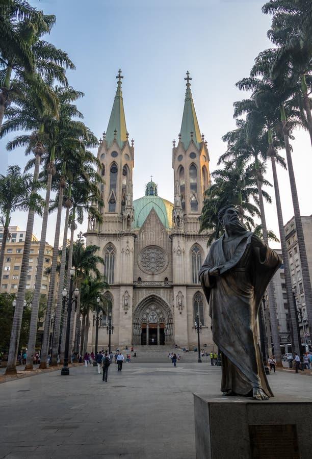 Se-Kathedraal - Sao Paulo, Brazilië stock foto's