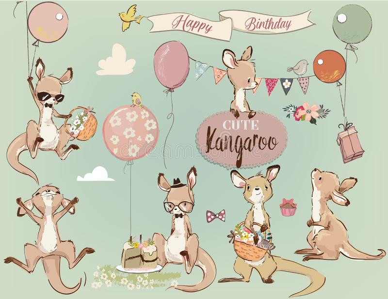 Se with Little kangaroo and balloons. Se with Little kangaroo and birthday elements stock illustration