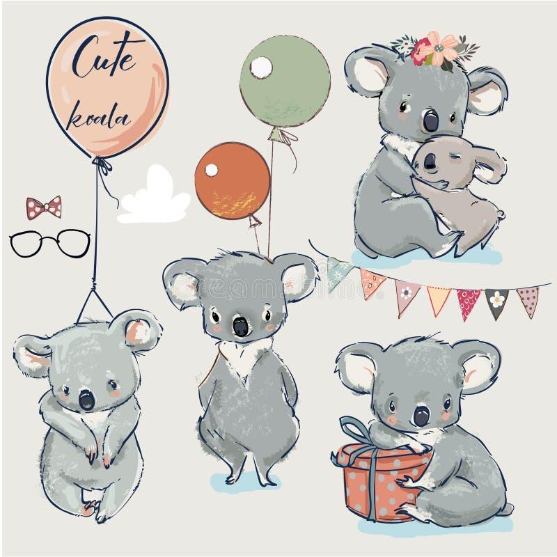 Se mit kleinen Koala und Ballonen lizenzfreie abbildung