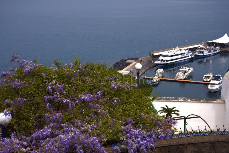 Se ner på porten från klipporna i Sorrento Italien arkivfoto