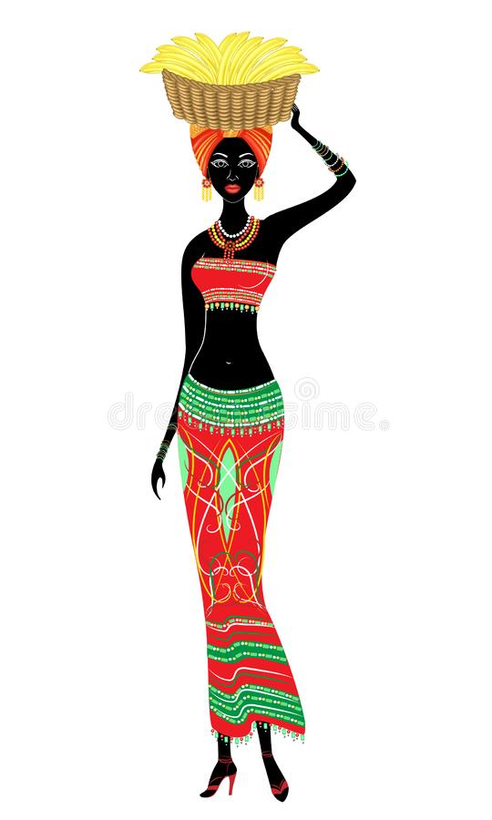 Se?ora afroamericana hermosa delgada La muchacha lleva una cesta con los plátanos en su cabeza Ilustraci?n del vector ilustración del vector