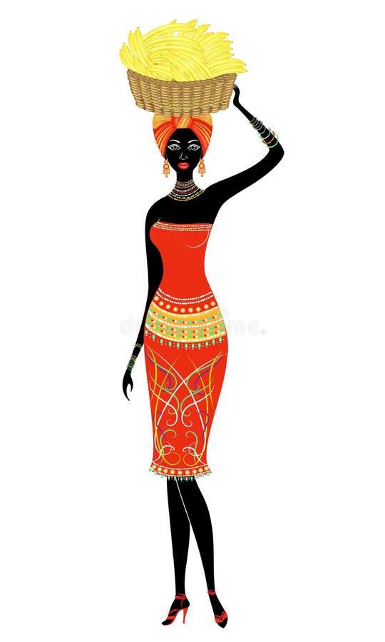 Se?ora afroamericana hermosa delgada La muchacha lleva una cesta con los pl?tanos en su cabeza Ilustraci?n del vector stock de ilustración