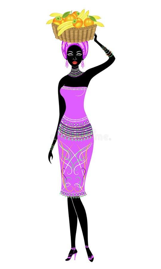 Se?ora afroamericana hermosa delgada La muchacha lleva una cesta en su cabeza con los plátanos, naranjas, caquis Vector libre illustration