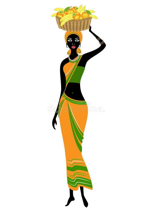 Se?ora afroamericana hermosa delgada La muchacha lleva una cesta en su cabeza con los pl?tanos, naranjas, caquis Vector libre illustration