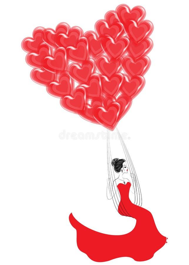 Se?ora bastante joven Una muchacha está volando en los globos rojos en la forma de un corazón Fantasía para el día de tarjeta del ilustración del vector