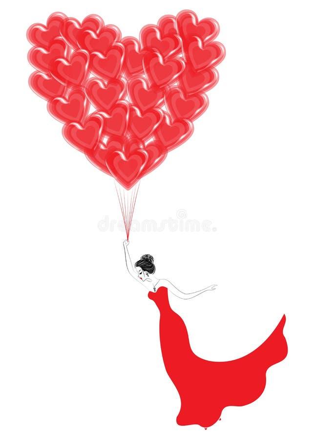 Se?ora bastante joven Una muchacha est? volando en los globos rojos en la forma de un coraz?n Fantas?a para el d?a de tarjeta del ilustración del vector