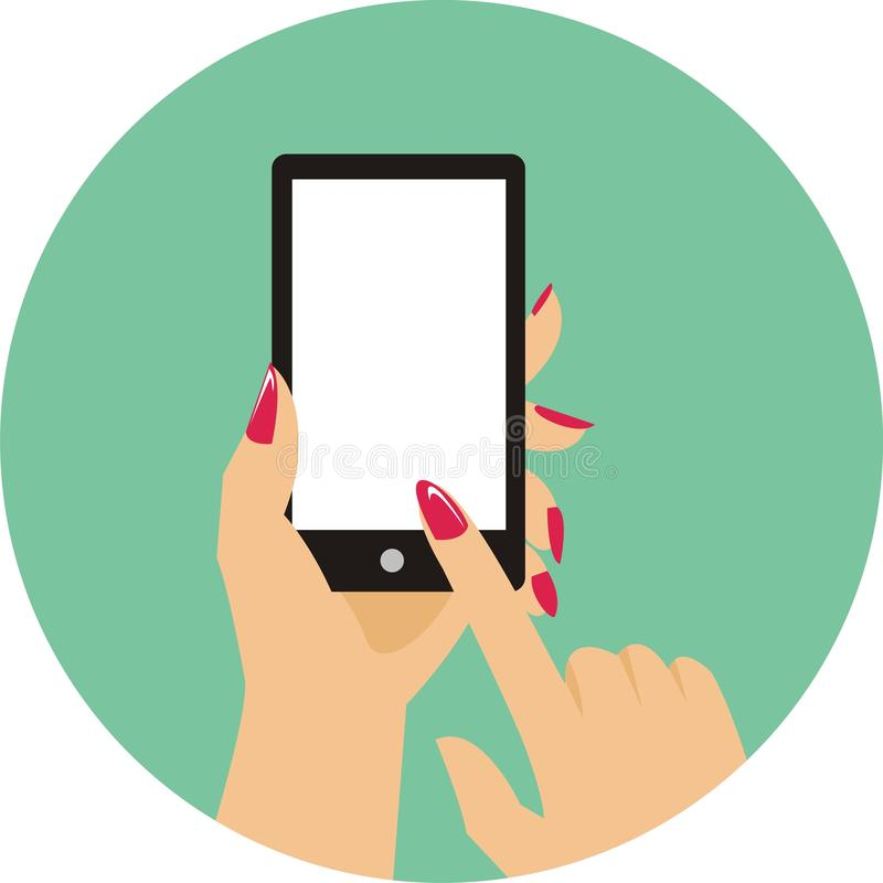 Se?ora del finger que presiona el bot?n del handphone stock de ilustración