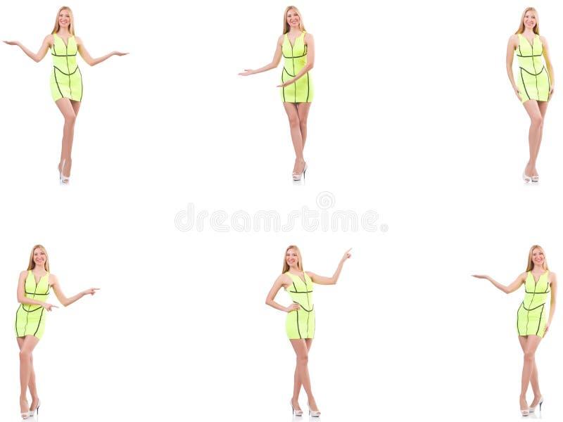 Se?ora hermosa joven en el vestido amarillo aislado en blanco foto de archivo