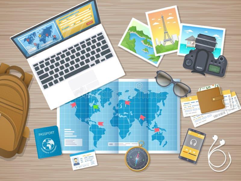 Se préparant aux vacances, voyage, voyage Planification de voyage, hôtel de réservation de liste de contrôle d'emballage Table en illustration libre de droits