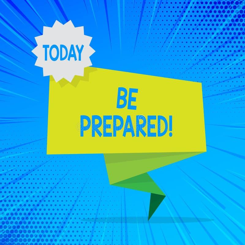 Se prepare el texto de la escritura El intento del significado del concepto esté siempre listo para hacer u ocuparse algo esconda libre illustration