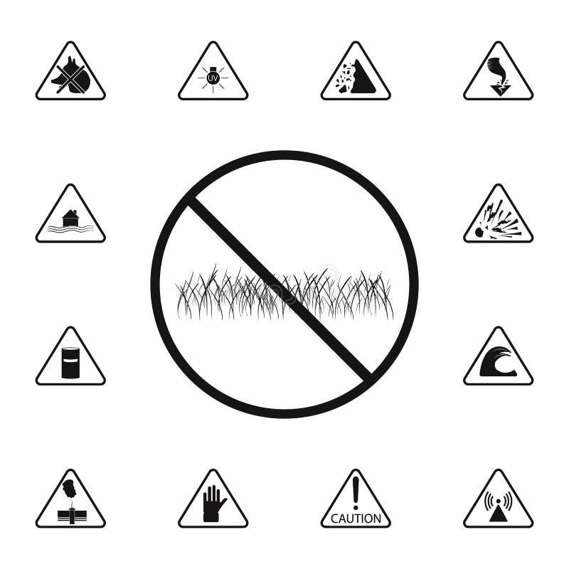 se prohíbe la muestra de caminar en el icono del césped Sistema detallado de iconos de las señales de peligro Muestra superior de stock de ilustración
