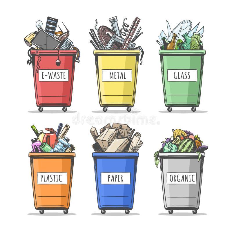 Se puede ajustar la basura ordenada a mano stock de ilustración