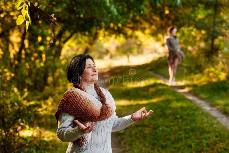 Se réunir en parc d'automne photo libre de droits