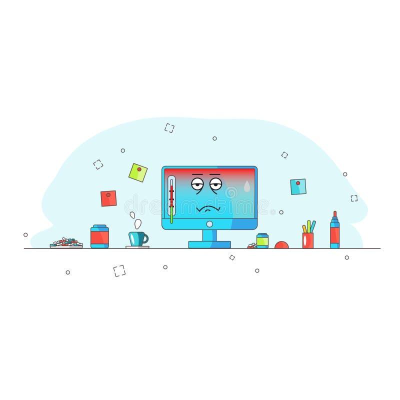 Se recalienta el ordenador Carácter divertido del ordenador de la historieta de la avería con calor y un termómetro Enfermo y med libre illustration