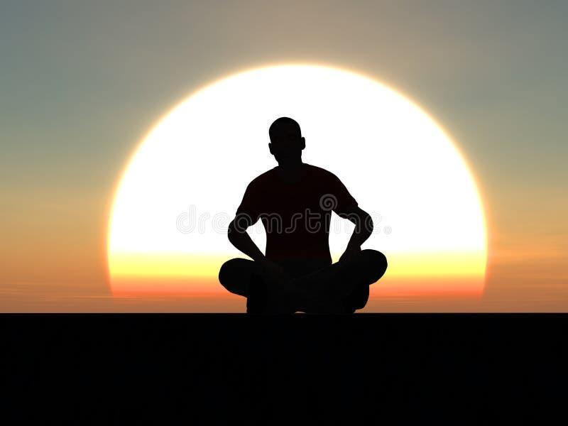 Se reposer dans le coucher du soleil illustration libre de droits