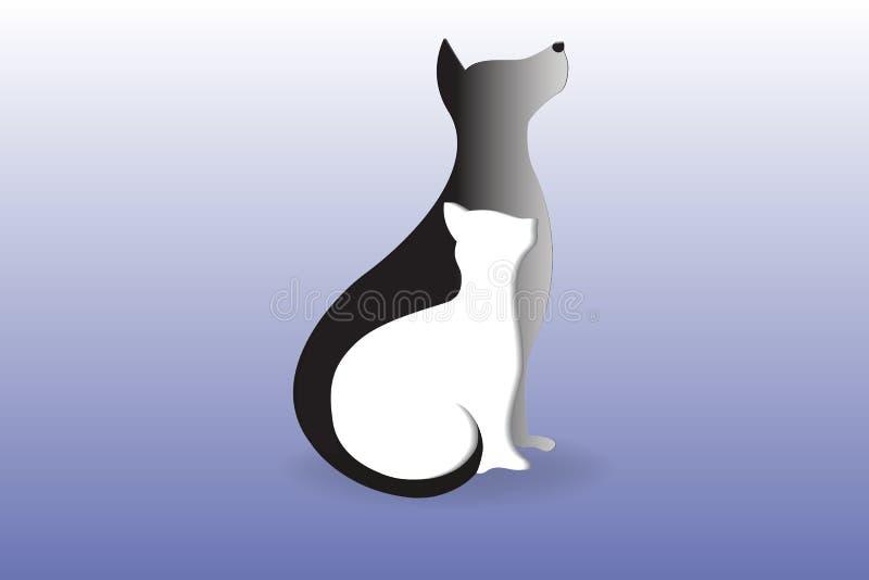 Se reposer de chien et de chat de logo illustration libre de droits
