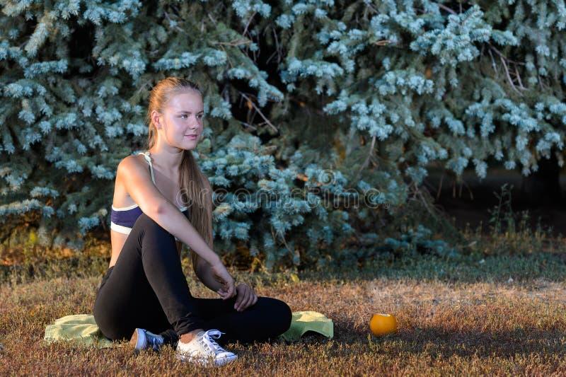 Se reposer de repos de jeune fille sur l'herbe photographie stock libre de droits