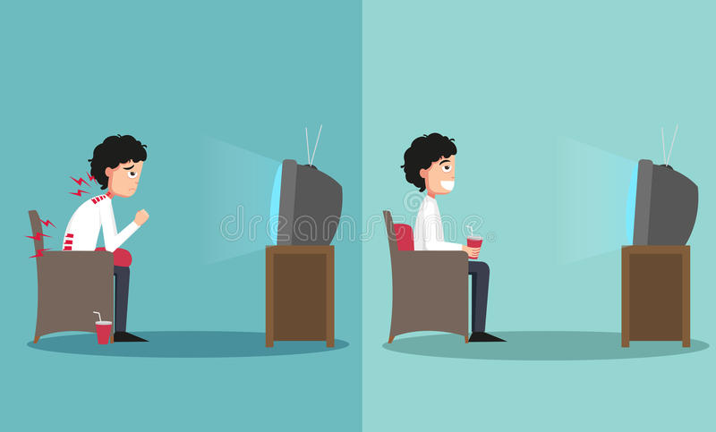 Se reposer des manières fausses et bonnes pour regarder la TV illustration libre de droits