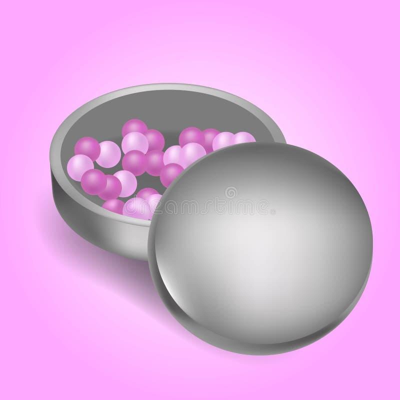 Se ruboriza el ejemplo rosado ealistic de la bola Concepto de la belleza Objetos aislados en fondo del rosa de la pendiente libre illustration