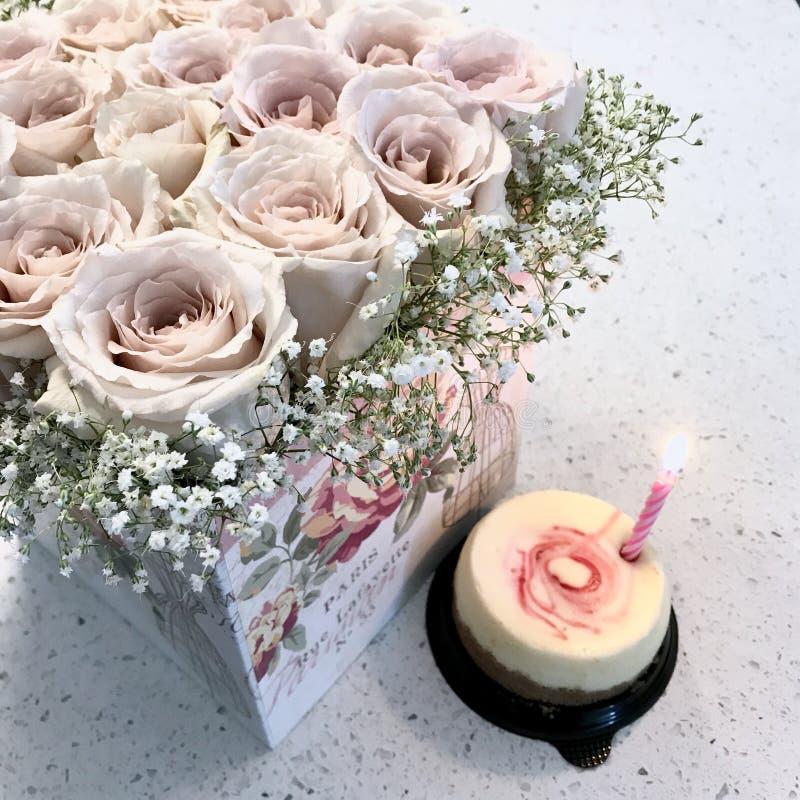 Se ruborizan las rosas y un pastel de queso fotografía de archivo