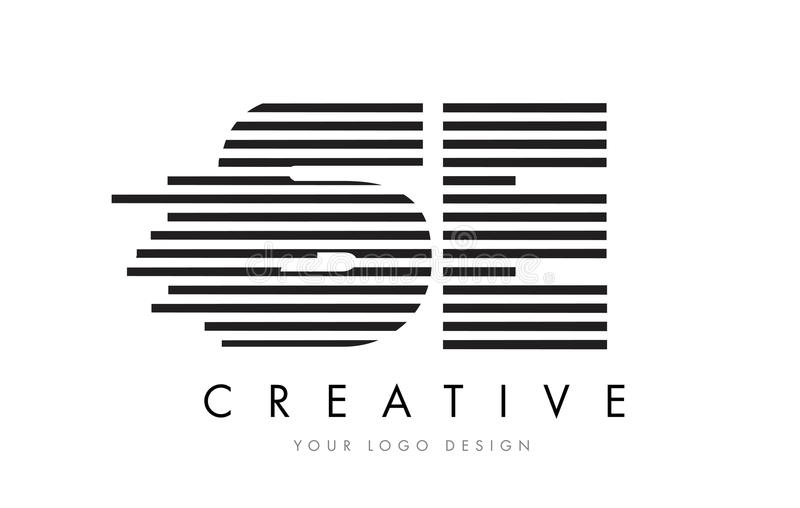 SE S E Zebra Letter Logo Design with Black and White Stripes vector illustration
