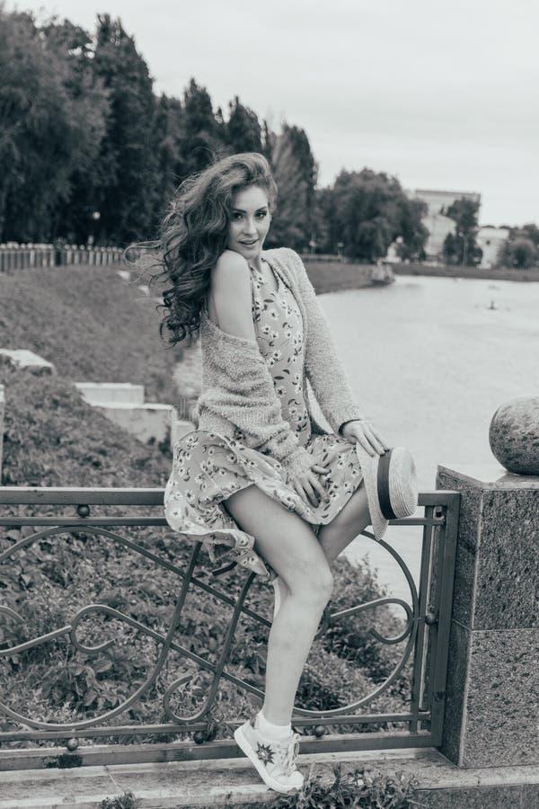 se sienta en una cerca, en las manos de un sombrero, de un vestido en una flor y de un suéter Muchacha hermosa imagen contra la p imágenes de archivo libres de regalías