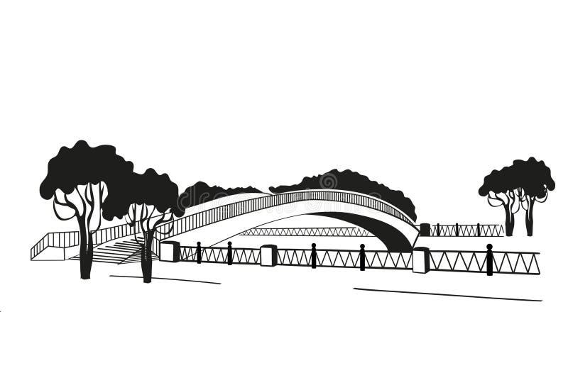 Se siluetea el puente Estilo gráfico del linocut Rebecca 36 ilustración del vector