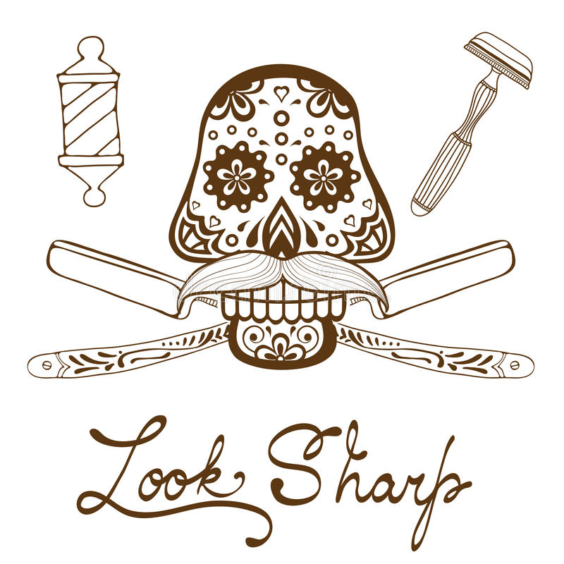 se skarp Skalle med mustaschen Shoppar den Retro drog diagram för stil handen för barberare emblemet vektor illustrationer