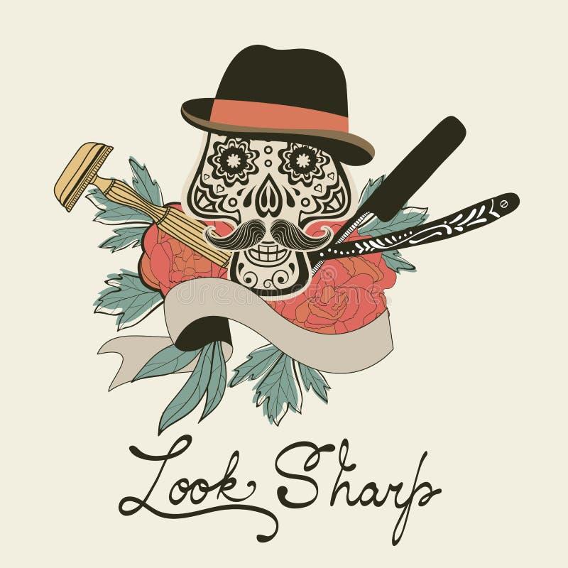 se skarp Skalle med mustaschen Shoppar den Retro drog diagram för stil handen för barberare emblemet stock illustrationer