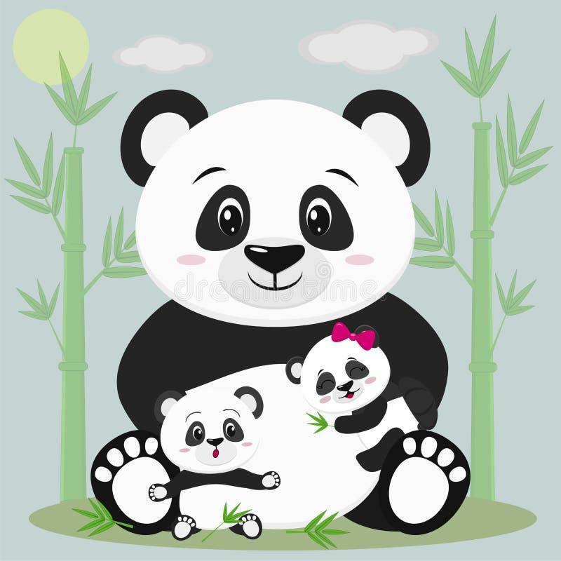 Se sorprende una panda dulce sienta y detiene a un niño con un arco, al lado de él sienta a otro bebé, él Contra el contexto del  ilustración del vector