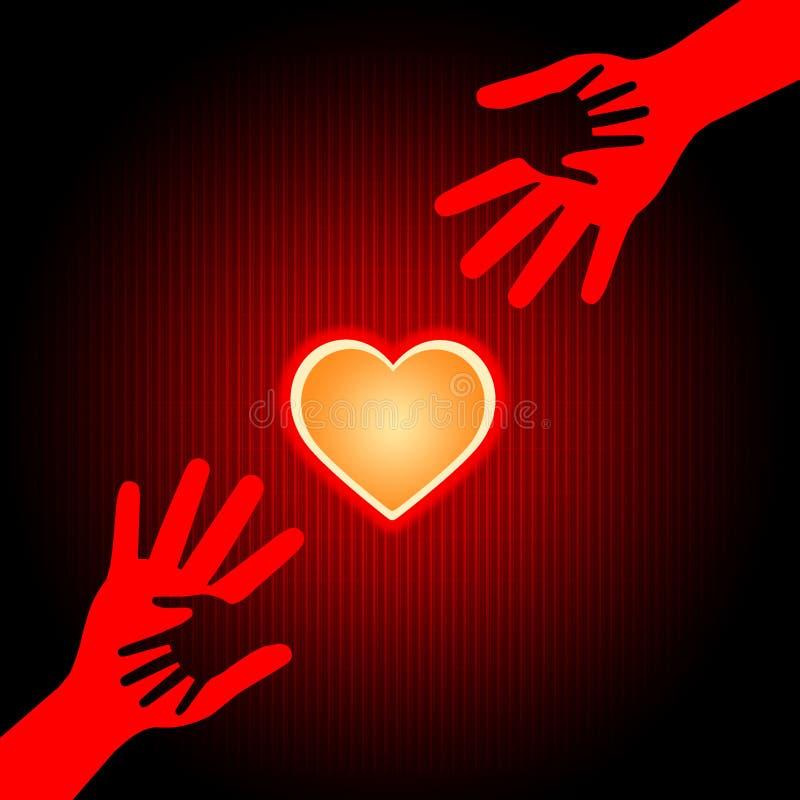 Se tenir remet la Saint-Valentin de moyens et affectueux illustration stock