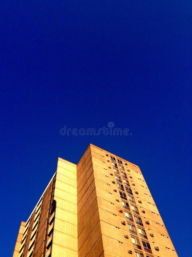 Se upp på hyreshus som ser upp mot blå himmel royaltyfri fotografi
