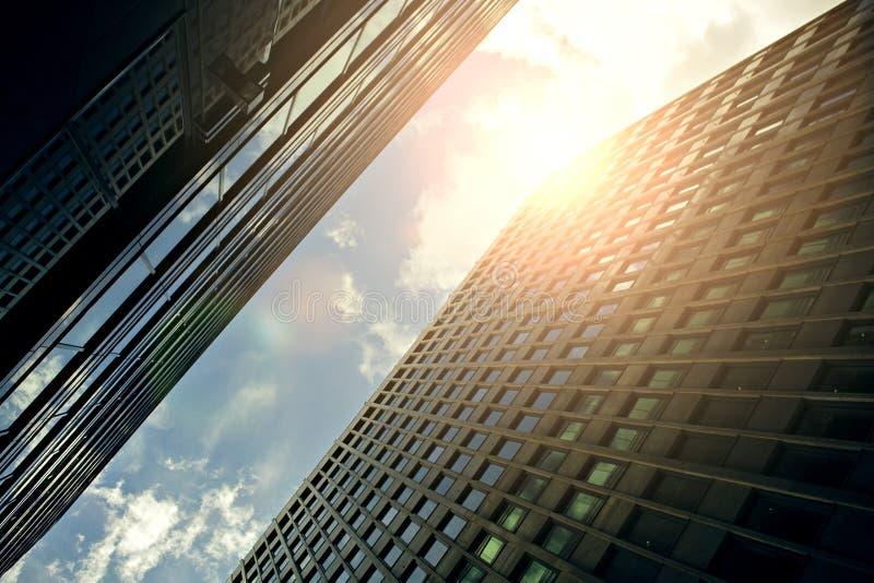 Se upp skyskrapor på solnedgången arkivfoton