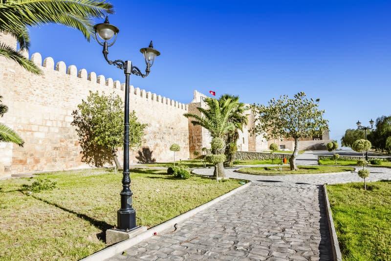 Se väggen av slotten Kasbah i Sousse Tunisien. royaltyfri foto