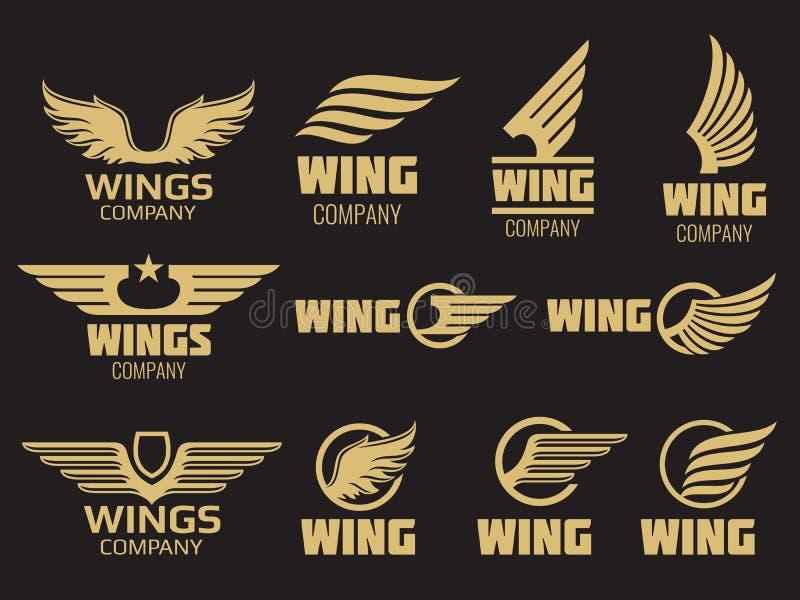 Se va volando la colección del logotipo - plantilla de oro del logotipo de las alas del auto libre illustration