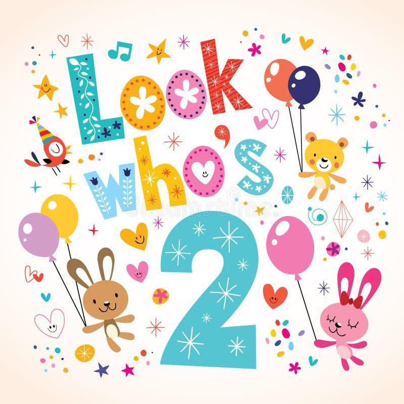 Se vem är två - det andra födelsedagkortet stock illustrationer