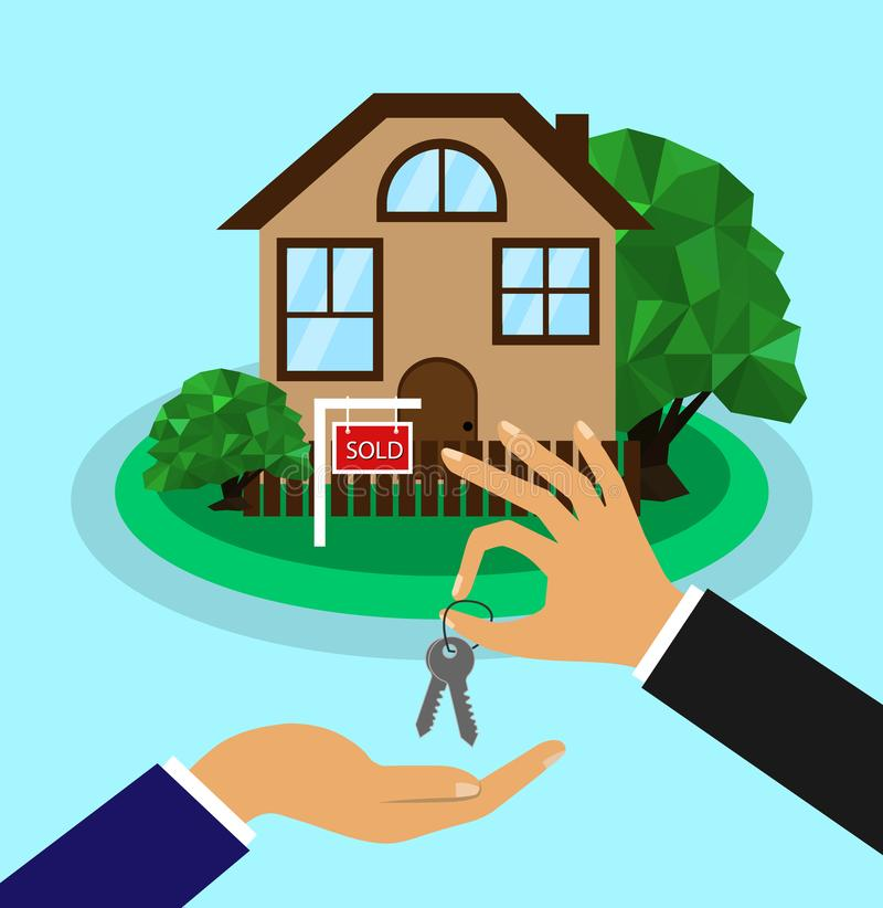 Se vende la casa Concepto del hogar de la venta El agente inmobiliario da las llaves a la casa al comprador stock de ilustración