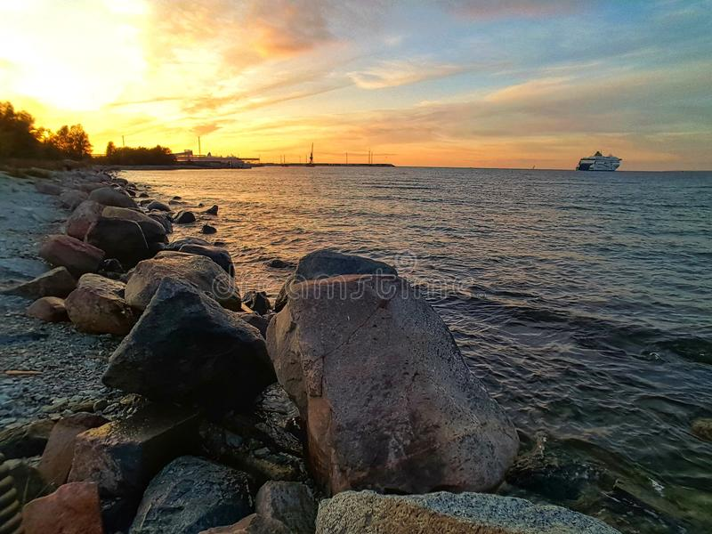 sea and sunset royalty free stock images