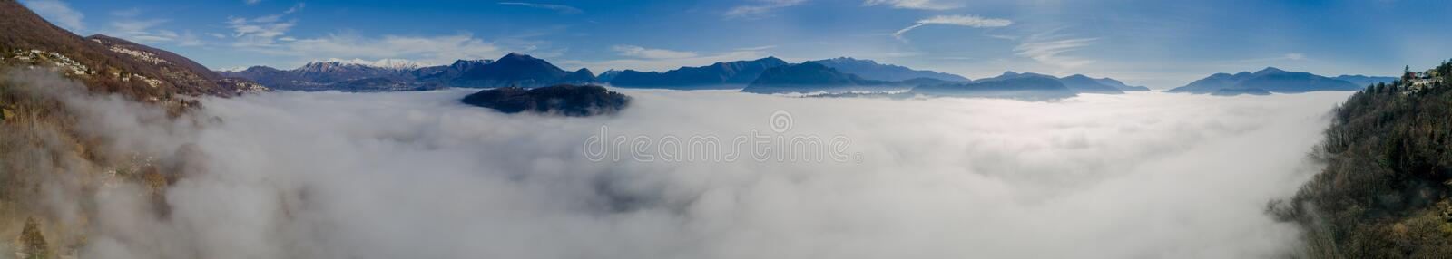 Sea fog from the top of the Swiss mountains stock image