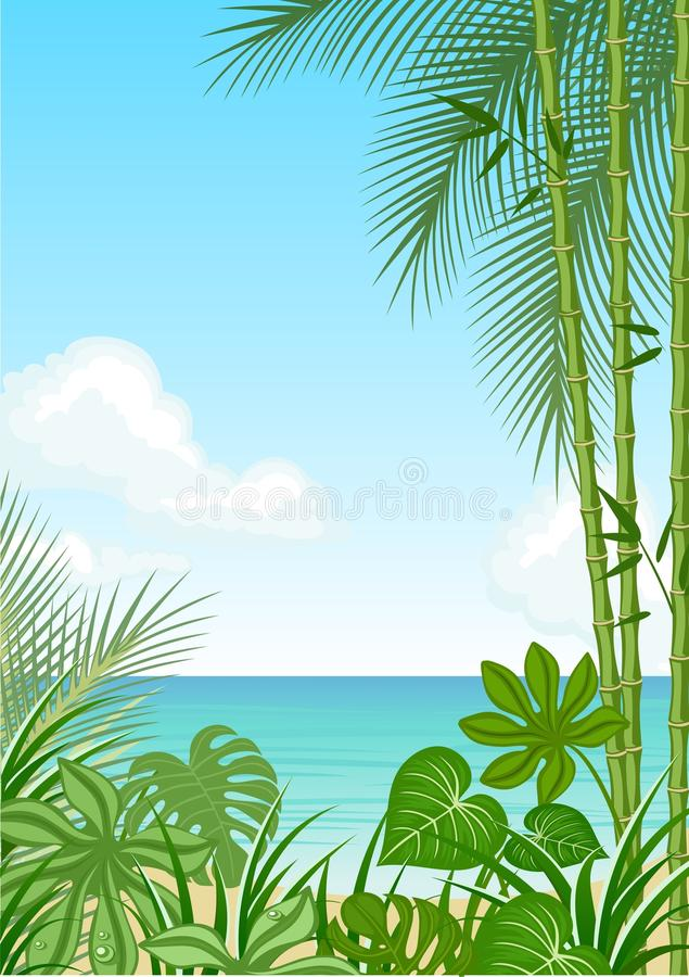 Download Sea stock vector. Image of island, leaves, clouds, heat - 15620749