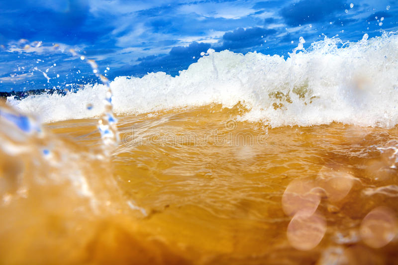Sea abstract background. Wave and beach royalty free stock photo