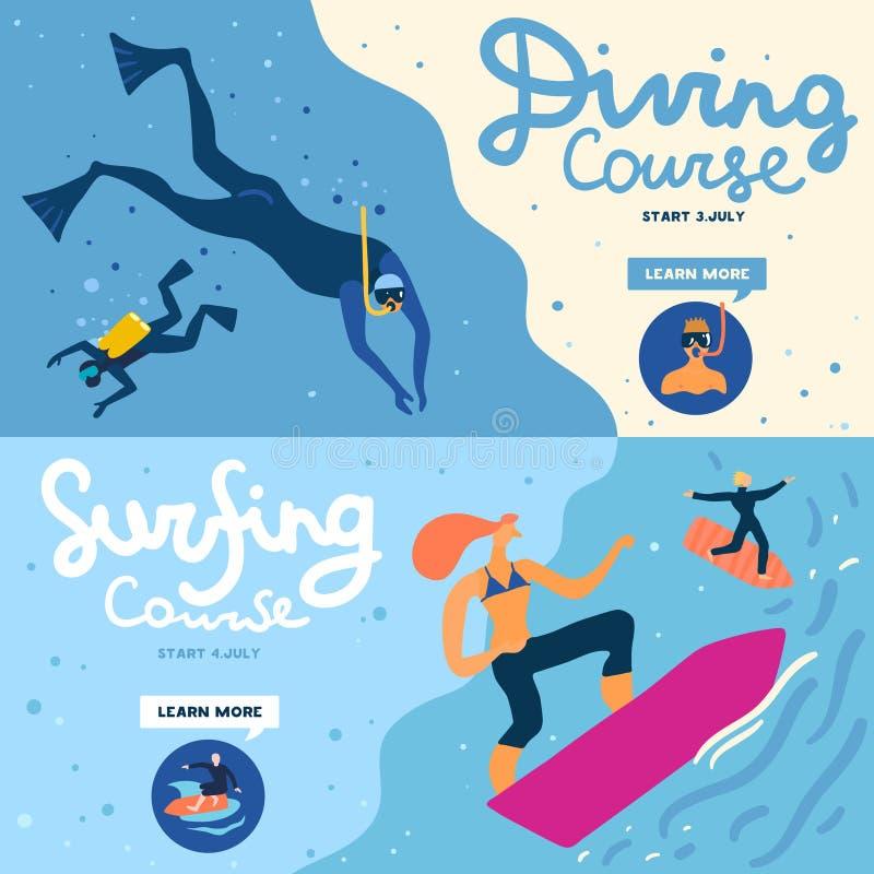 Sea Activities Banners Set stock illustration