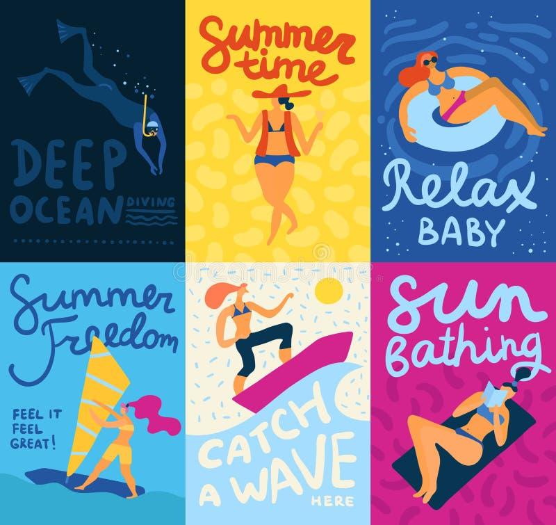 Sea Activities Cards Set vector illustration