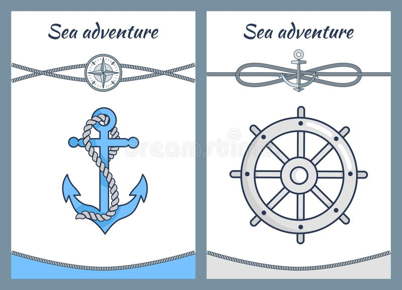 Sea Adventure Color Posters, Vector Illustration. S isolated on white, big handwheel, cordages loop, intersecting ropes, cordage coiled on blue anchor stock illustration