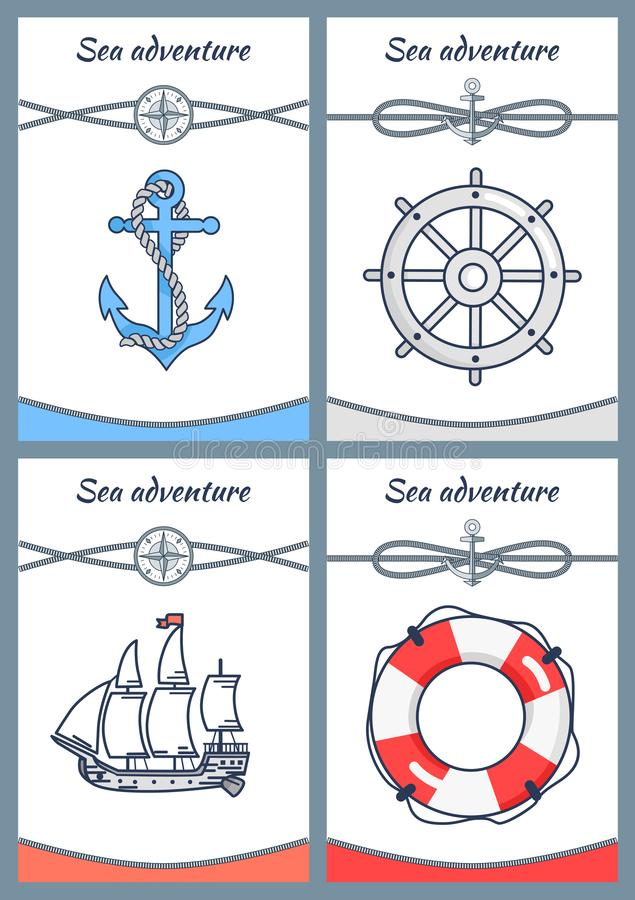 Sea Adventure Set of Four Bright Colorful Banners. Sea adventure set of four colorful banners, vector icons anchor handwheel, ship and rescue circle with rope vector illustration